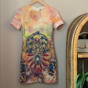 💎 RED Valentino Silk Jewel Print Dress Size 38